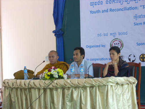Theary Seng speaking at Youth for Peace, Siem Reap, 2008