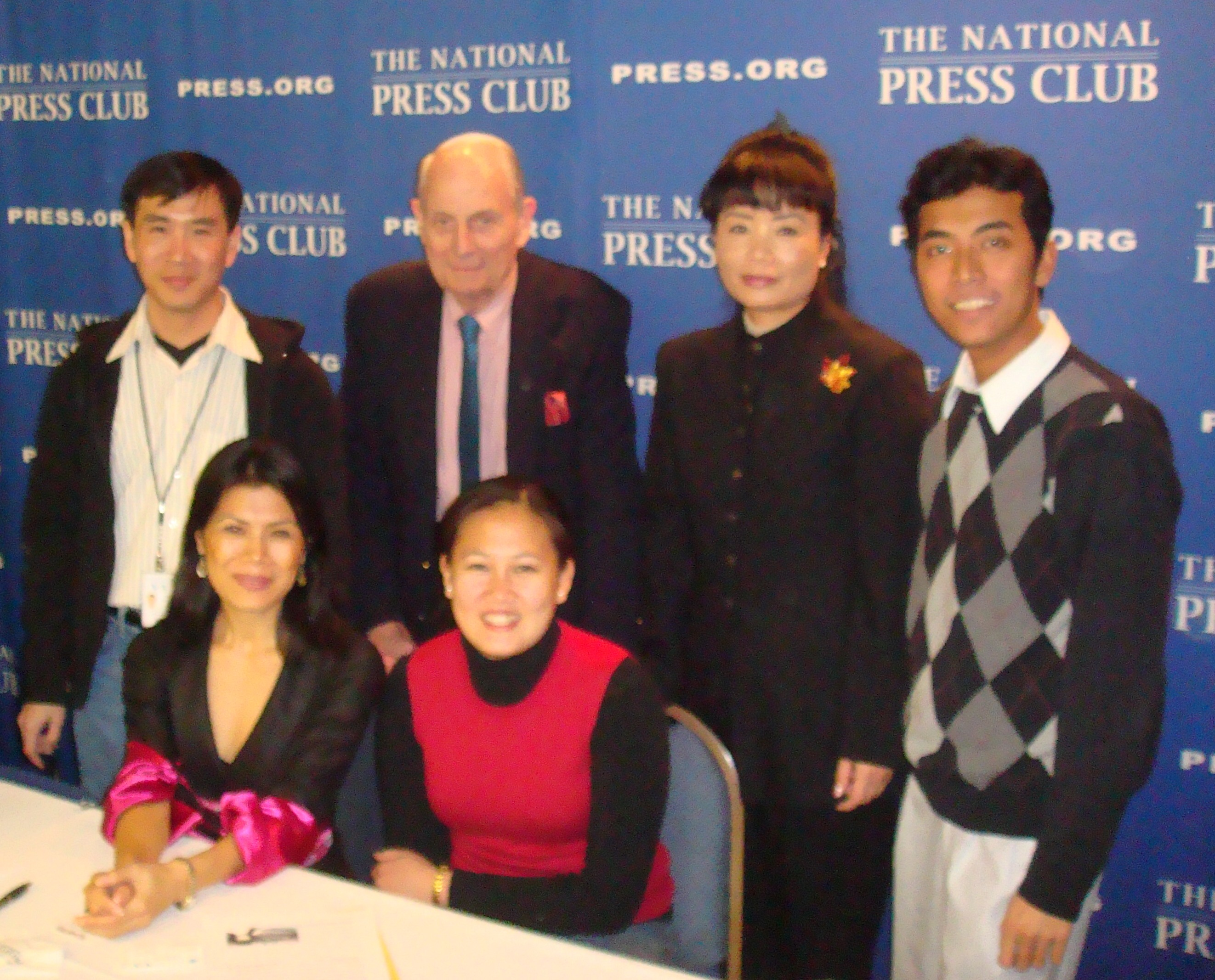 Theary Seng with VOA staff, Peter Hickman, author Chanrithy Him at National Press Club, 5 March 2010