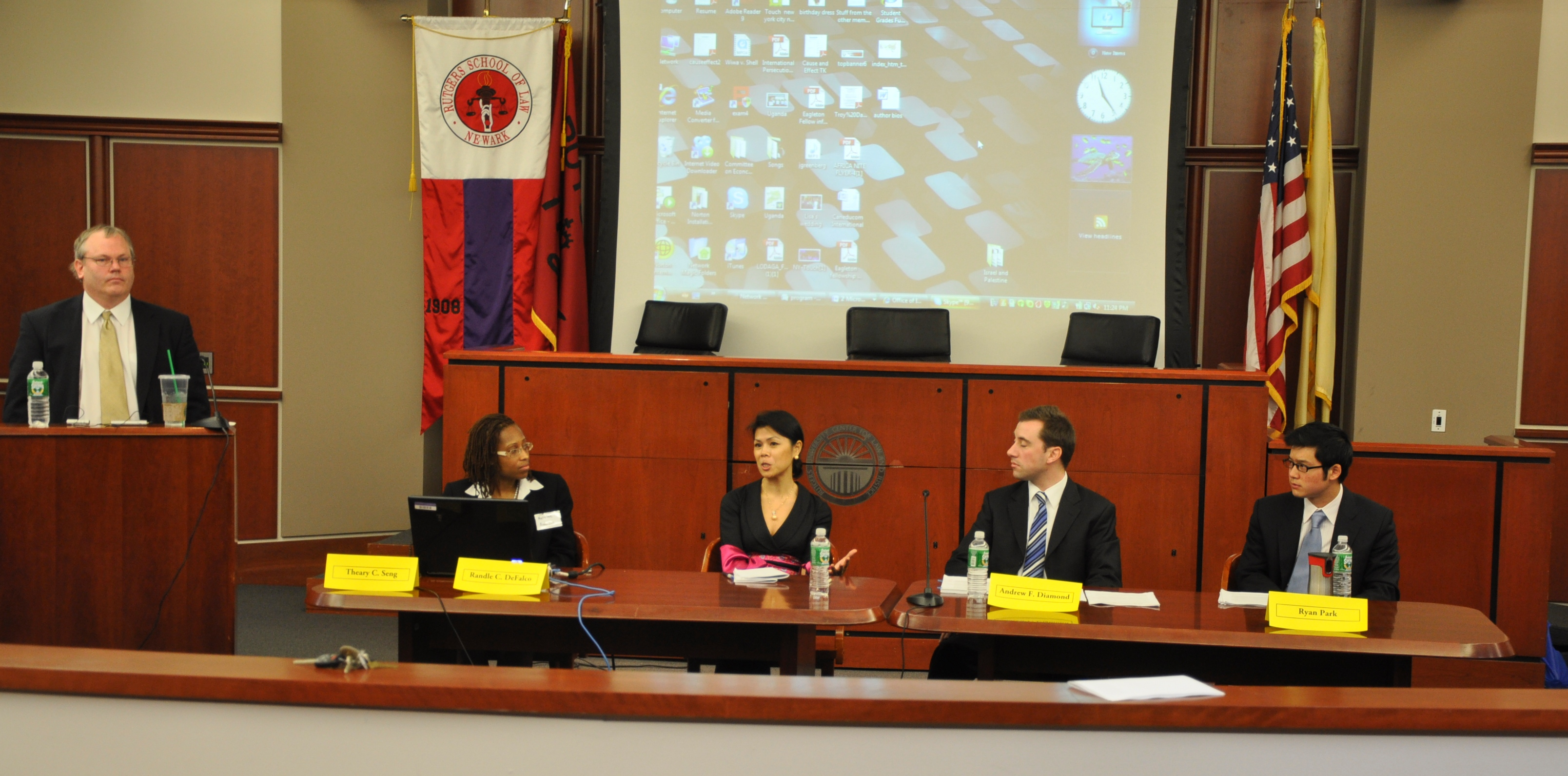 Theary Seng joining the Panelists after her opening remarks, moderated by Prof. Alex Hinton, Rutgers School of Law, 2 April 2010