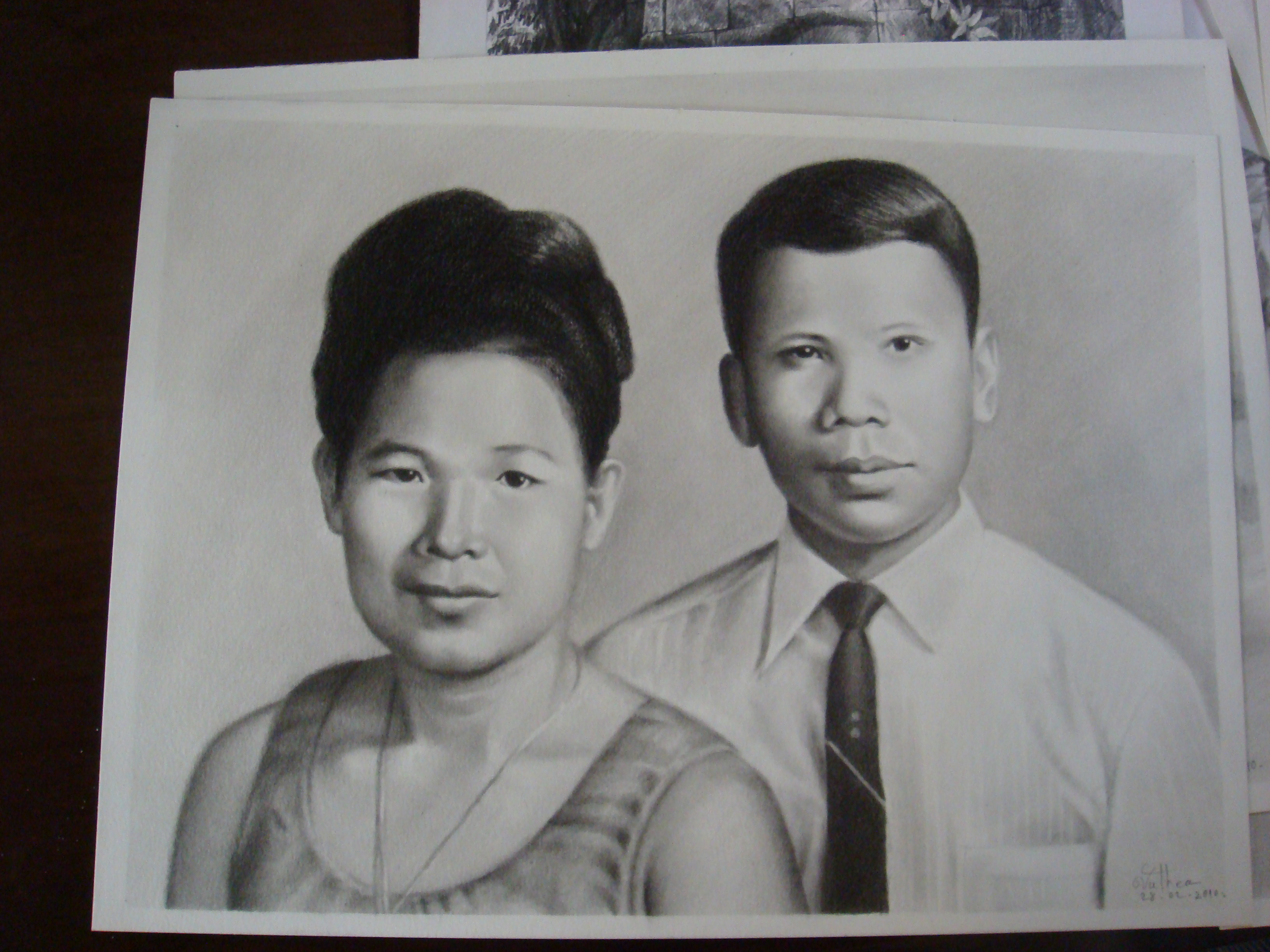 Theary Seng's parents drawing by Chea Vuthea