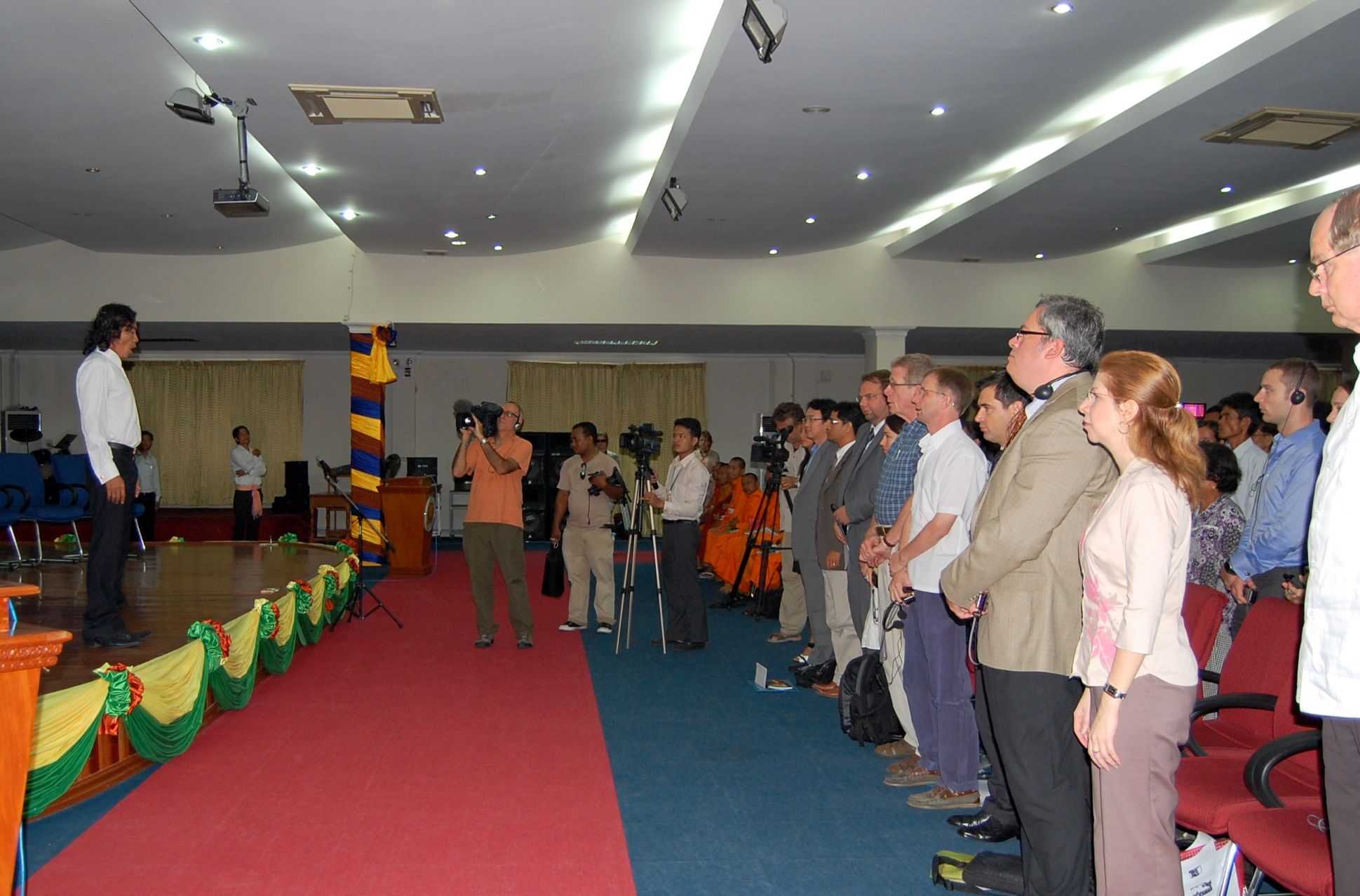 Tenor Khuon Sethisak singing the national anthem, CJR public forum, 23 July 2010