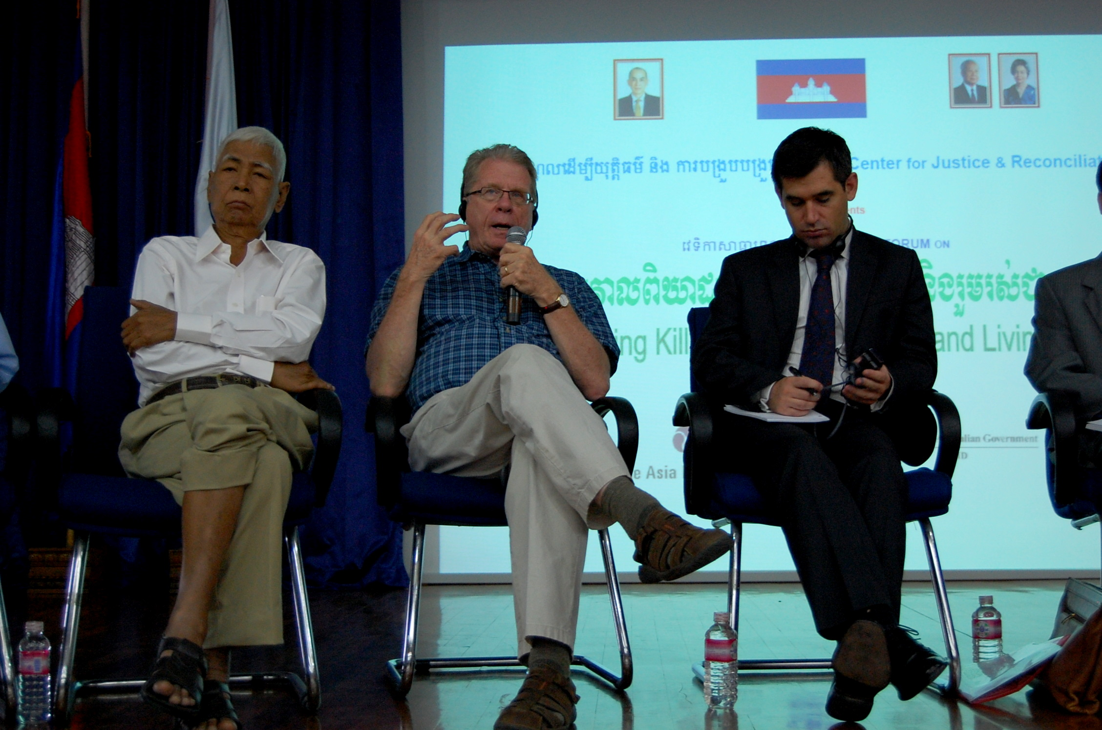 Van Nath, David Chandler, Andrew Mace at Center for Justice & Reconciliation public forum