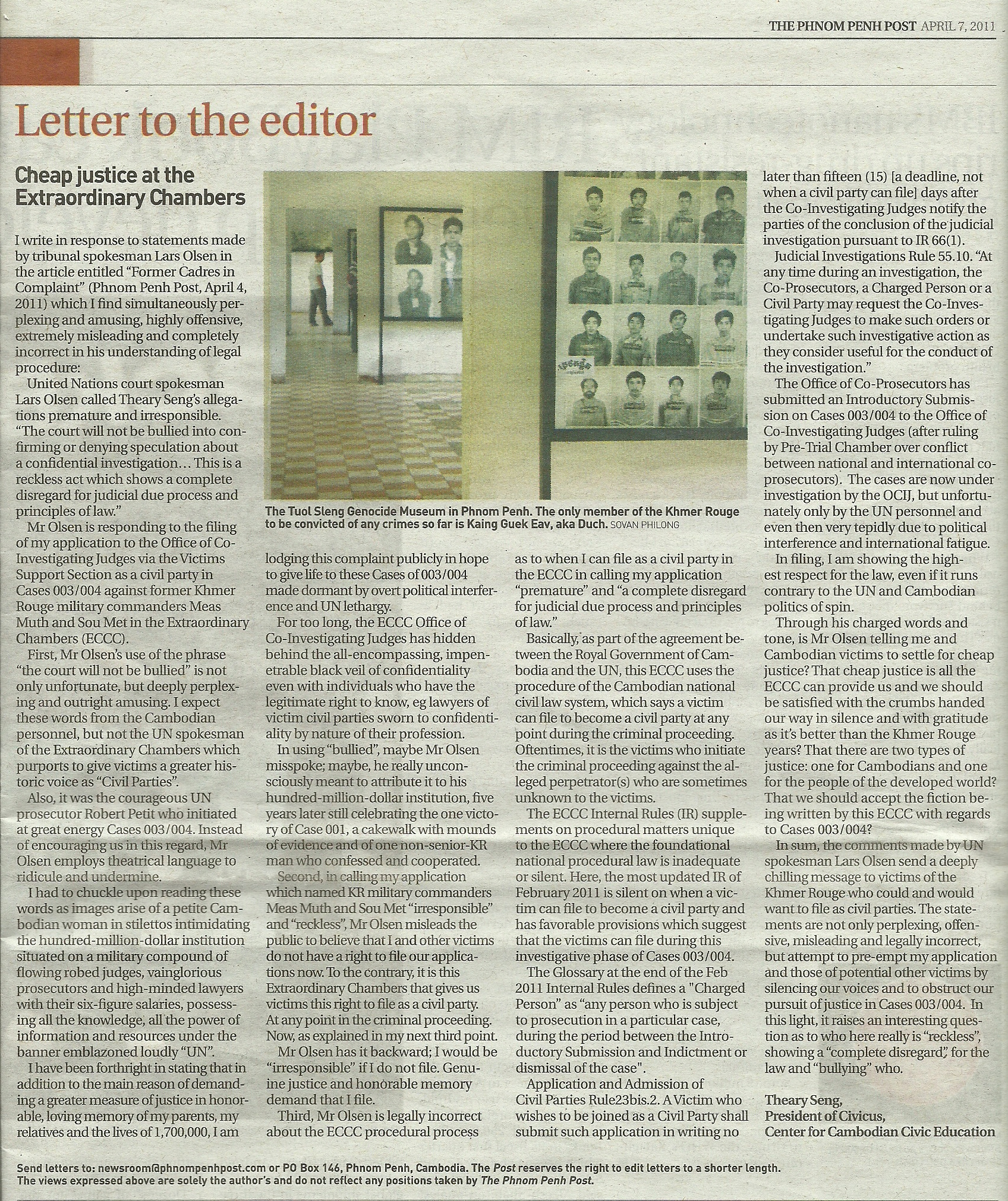 Theary Seng Letter to Editor Phnom Penh Post, 7 April 2011