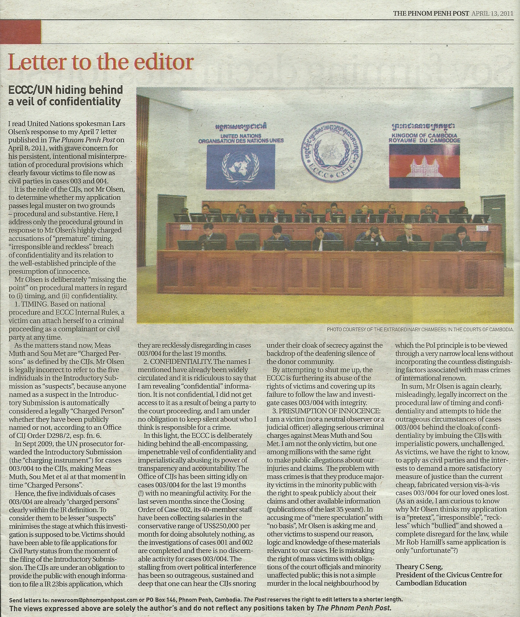 Theary Seng Letter to Editor Phnom Penh Post, 13 April 2011