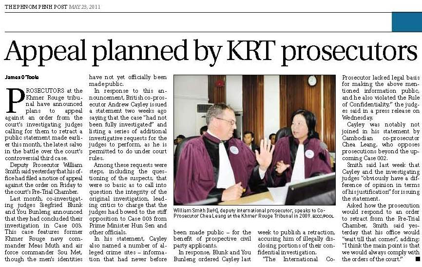 Appeal planned by KRT prosecutor, 23 May 2011