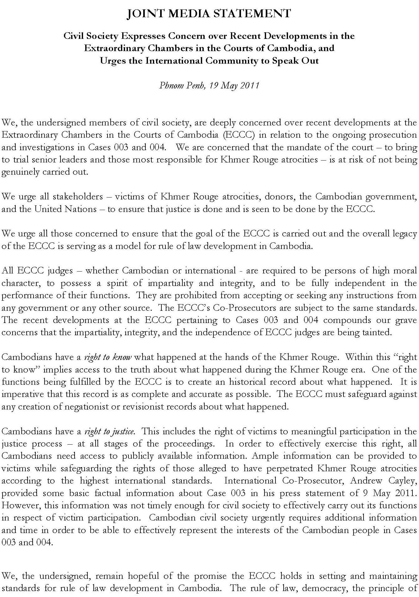 Joint Media Statement, 19 May 2011