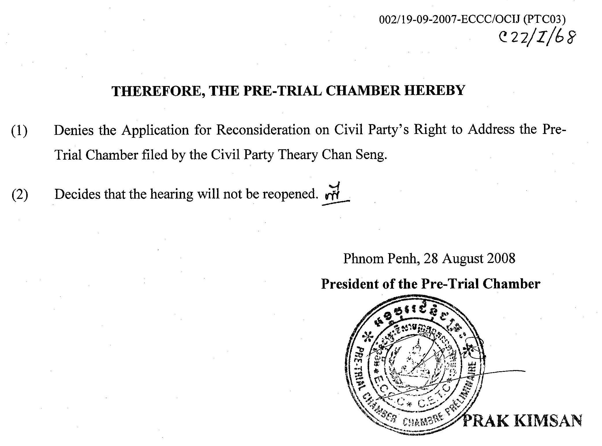 Theary Seng, Pre-Trial Chamber decision, 28 Aug. 2008