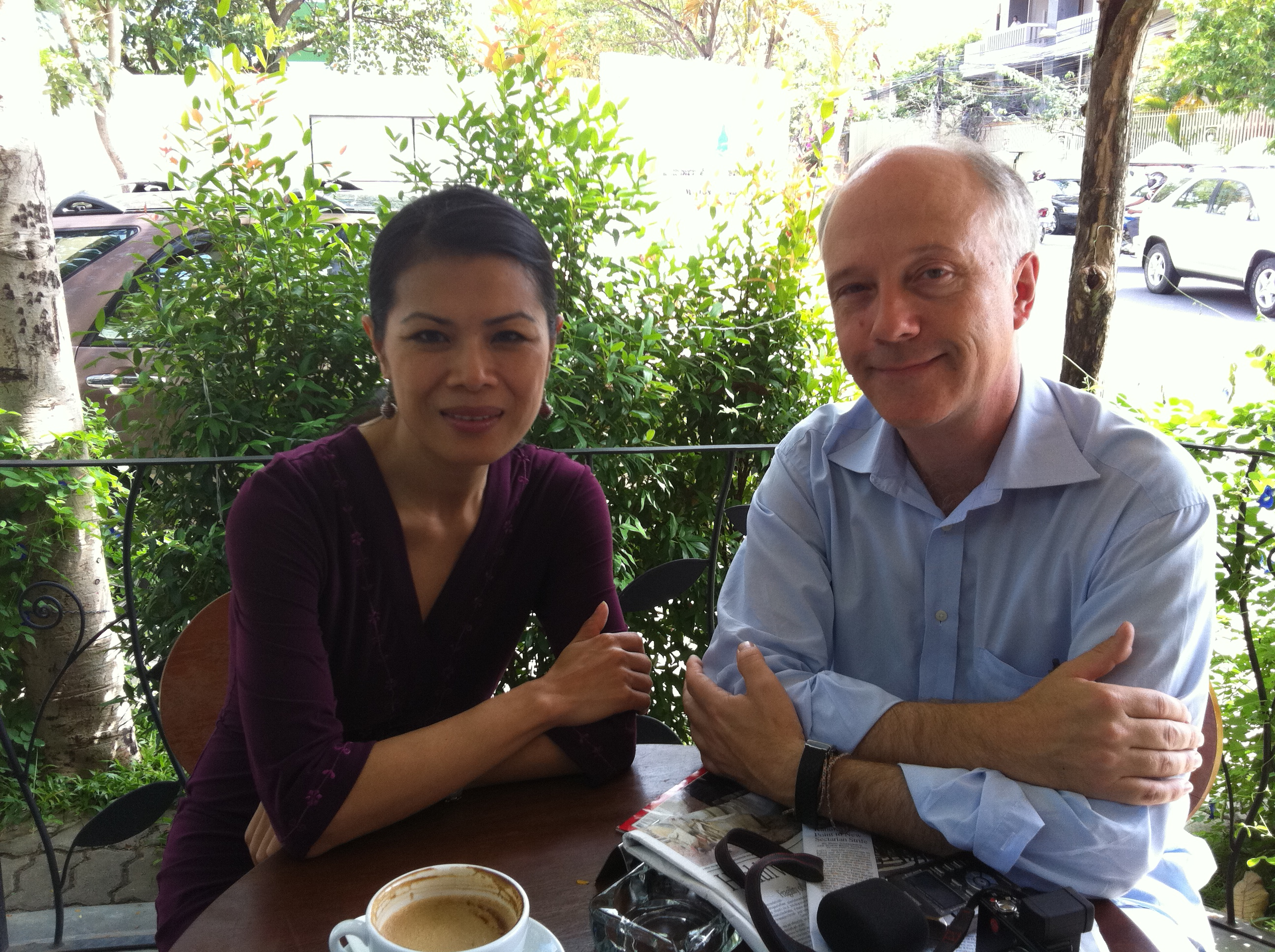 Theary Seng with Nils Horner of National Swedish Radio, 8 Dec. 2011