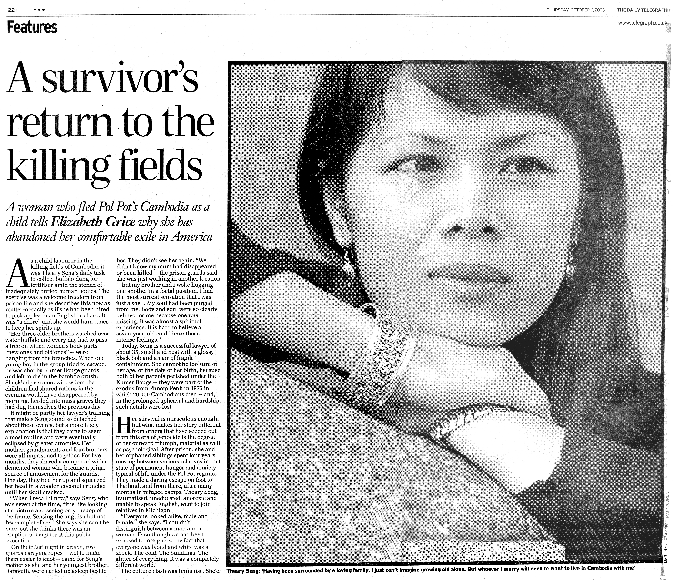 Theary Seng feature interview in UK Daily Telegraph, 2005