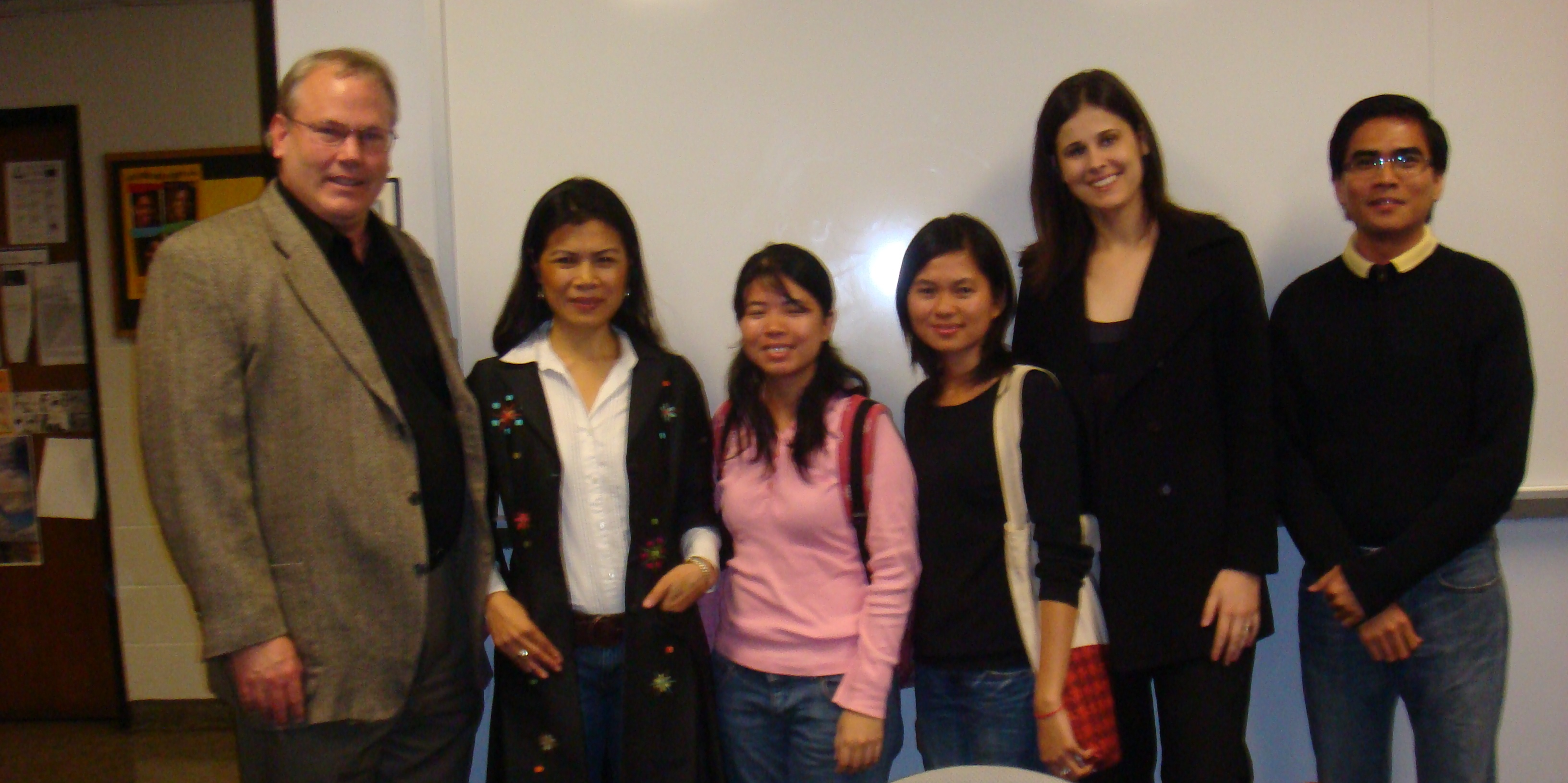 Theary Seng at Alex Hinton's seminar, photos with Khmer students, 1 April 2010, Rutgers University