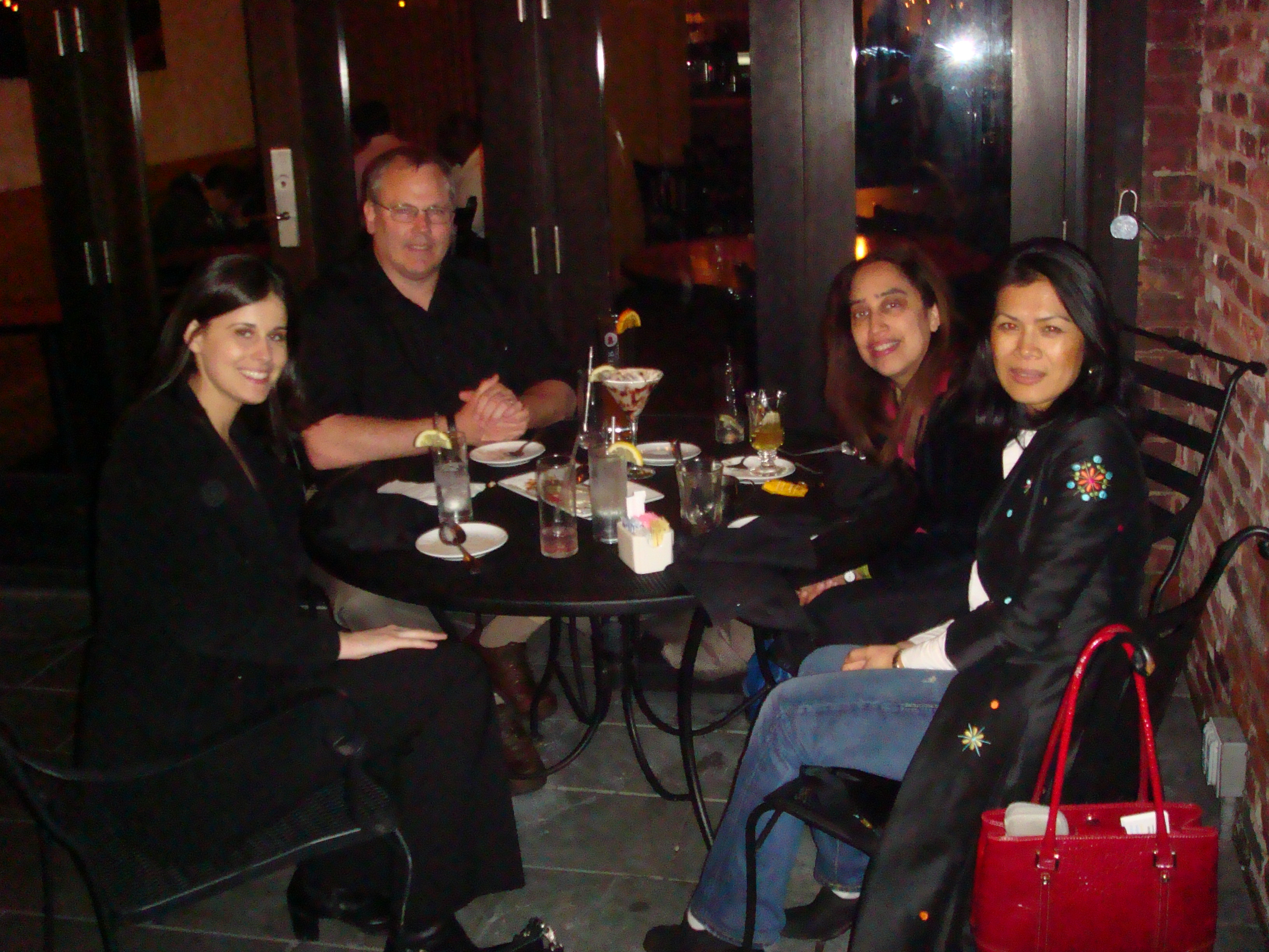 Theary Seng, Alex Hinton, Neja Navarro, Elena Lesley at dinner (Newark, 1 April 2010)