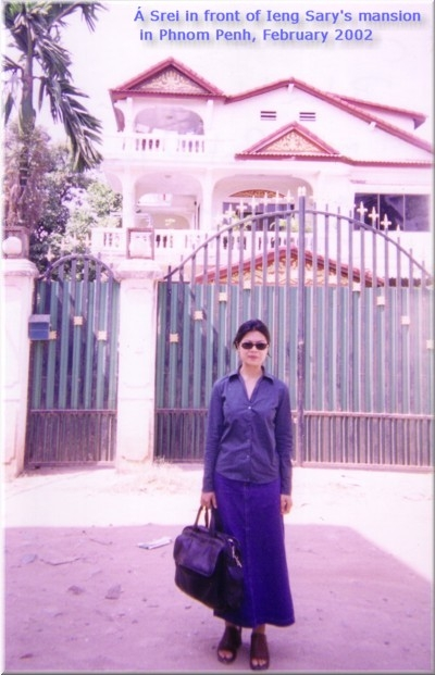 Theary Seng in front of Ieng Sary's villa in Phnom Penh (February 2002)